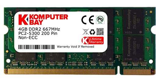 1058 opinioni per Komputerbay 4GB DDR2 SODIMM (200 pin) 667Mhz PC2 5400 / PC2 5300 CL 5.0