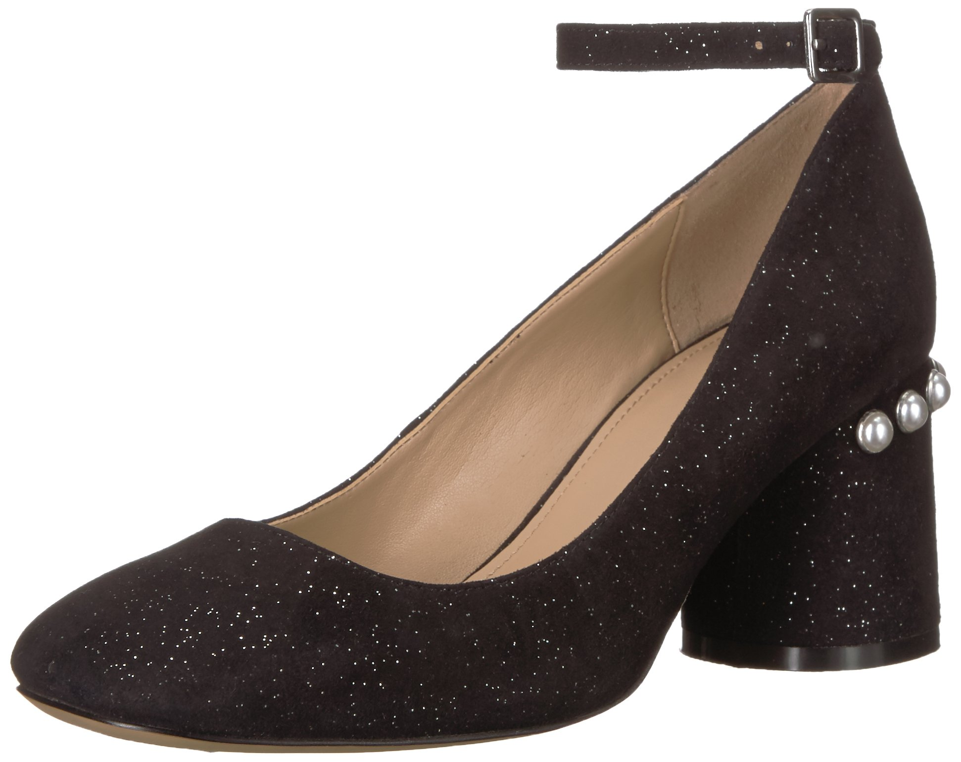 The Fix Women's Mona Embellished Block Heel Ankle-Strap Pump, Black, 7.5 B US