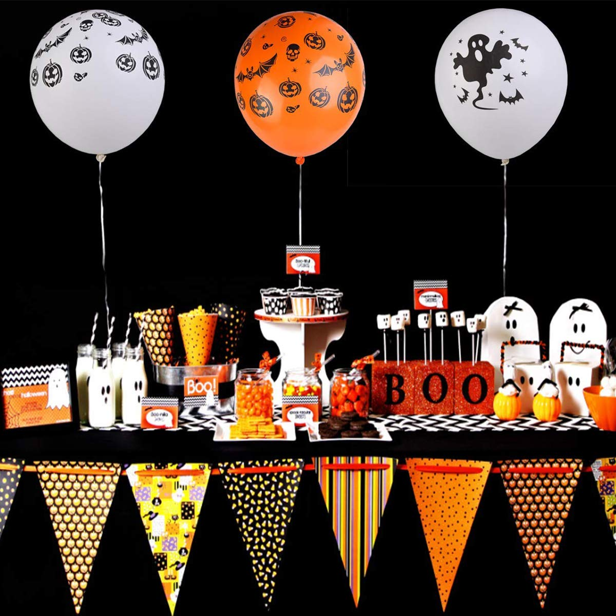 AIRERA Halloween Balloons Decorations - 100 Pieces 12 Inches Pumpkin Bat Specter Spider Web Latex Balloons for Halloween Party Supplies