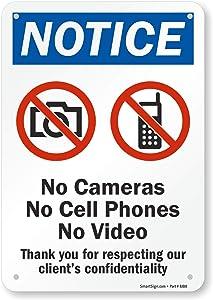 "SmartSign ""Notice - No Cameras, Cell Phones, Video"" Sign   7"" x 10"" Aluminum"