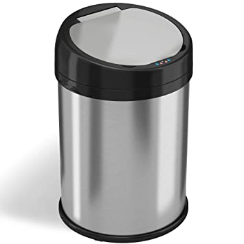 iTouchless 8 Gallon Sensor Trash Can, Stainless Steel, Automatic Touchless  Lid, Home or Office, 30 Liters, Wide Opening, Round