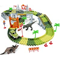 Dinosaur Race Car Toys Tracks with 142-pieces Tracks, 2 Dinosaurs, 1 Car, 4 Trees, 1 Door, 2 Slopes, 1 Hanging Bridge