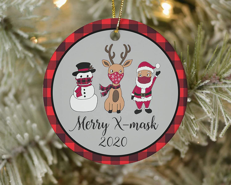 EricauBird Christmas Ornament-Merry X-mask 2020 Ornament, Santa Ornament, Snowman Face Mask, Reindeer Ornament, Quarantine Christmas 2020, Buffalo Plaid Ornament, Home Decor