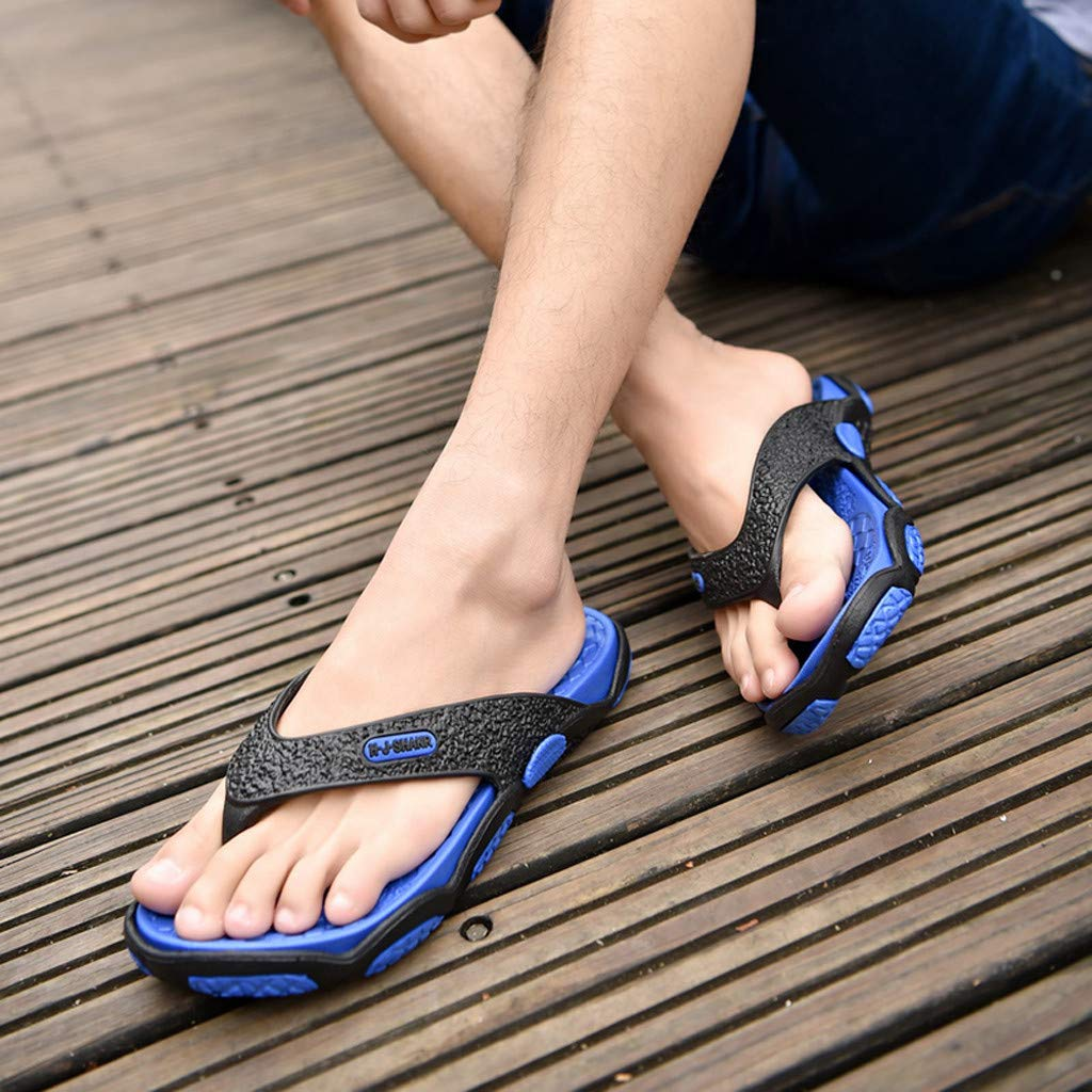 KESEELY Summer Men's Open Toe Slippers Fashion Beach Shoes Massage Bathroom Round Head Flip Flops Beach Casual Slippers Blue by KESEELY (Image #5)