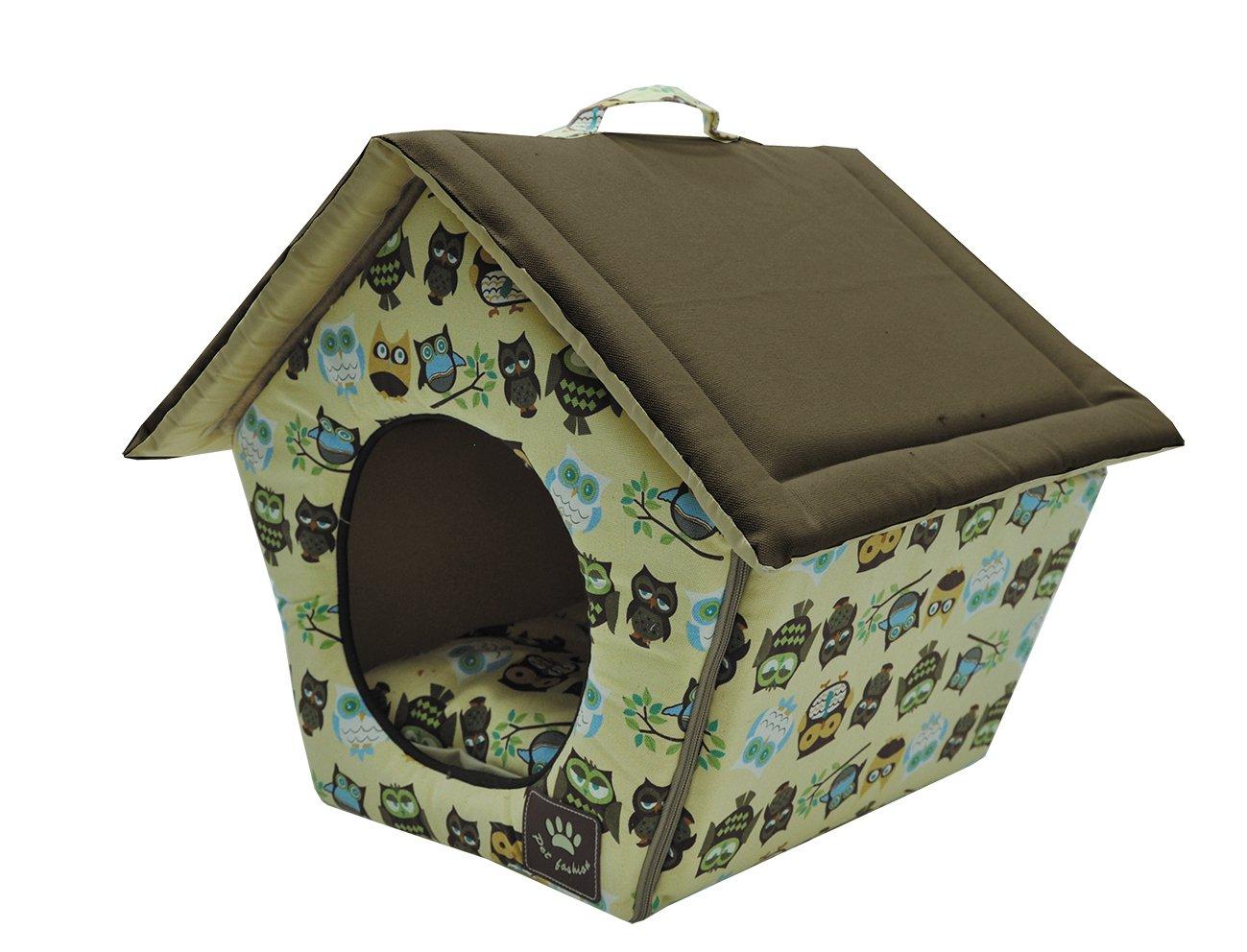 51x44x40cm VADIGRAN Owl Dog House 45 x 40 cm Beige Brown