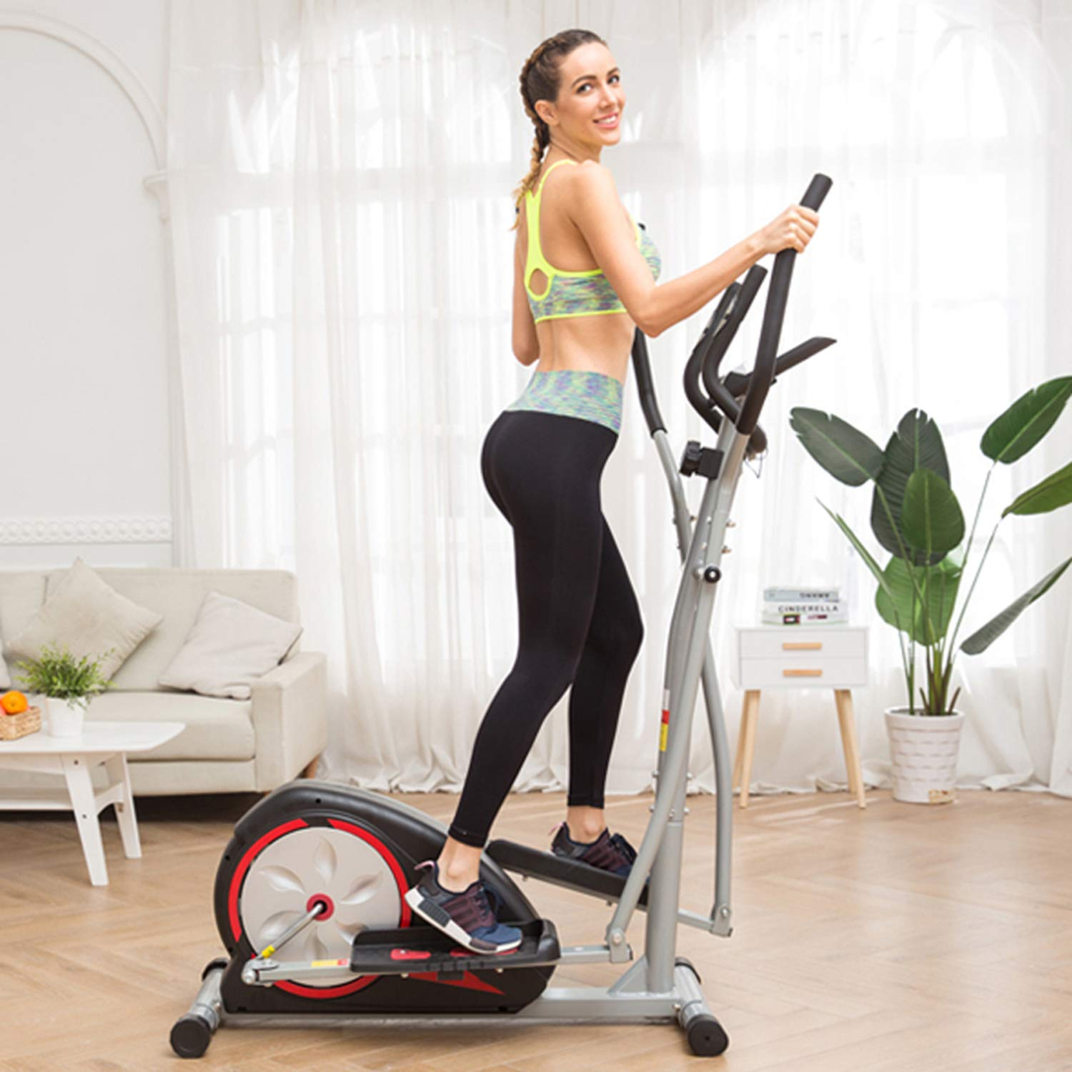 Home Elliptical Machine Exercise with LCD Monitor, Magnetic Smooth Quiet Health Fitness Workout Machines (Black) by Hurbo
