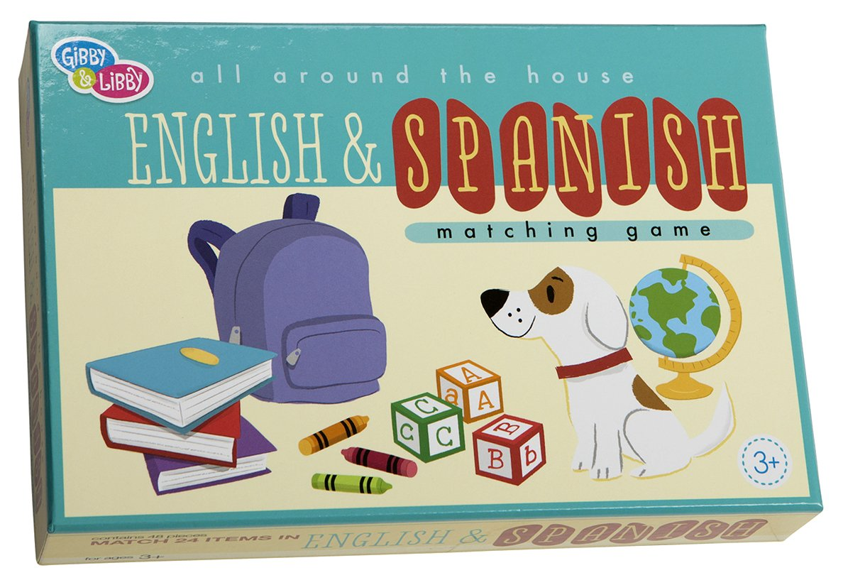 C.R. Gibson English and Spanish Matching Board Game for Kids 48pc