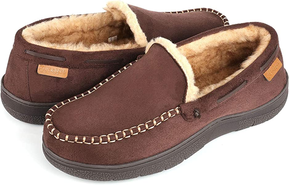 Zigzagger Mens Microsuede Moccasin Slippers Memory Foam House Shoes