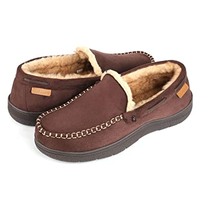 cdad3662141352 Wishcotton Zigzagger Men's Microsuede Moccasin Slippers Memory Foam House  Shoes Coffee