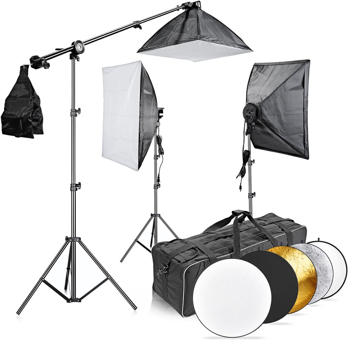 CanadianStudio 4 Socket Photography Lighting Softbox 20 x 28 Light Softbox Reflector with 4 Socket Light Bulb Adaptor
