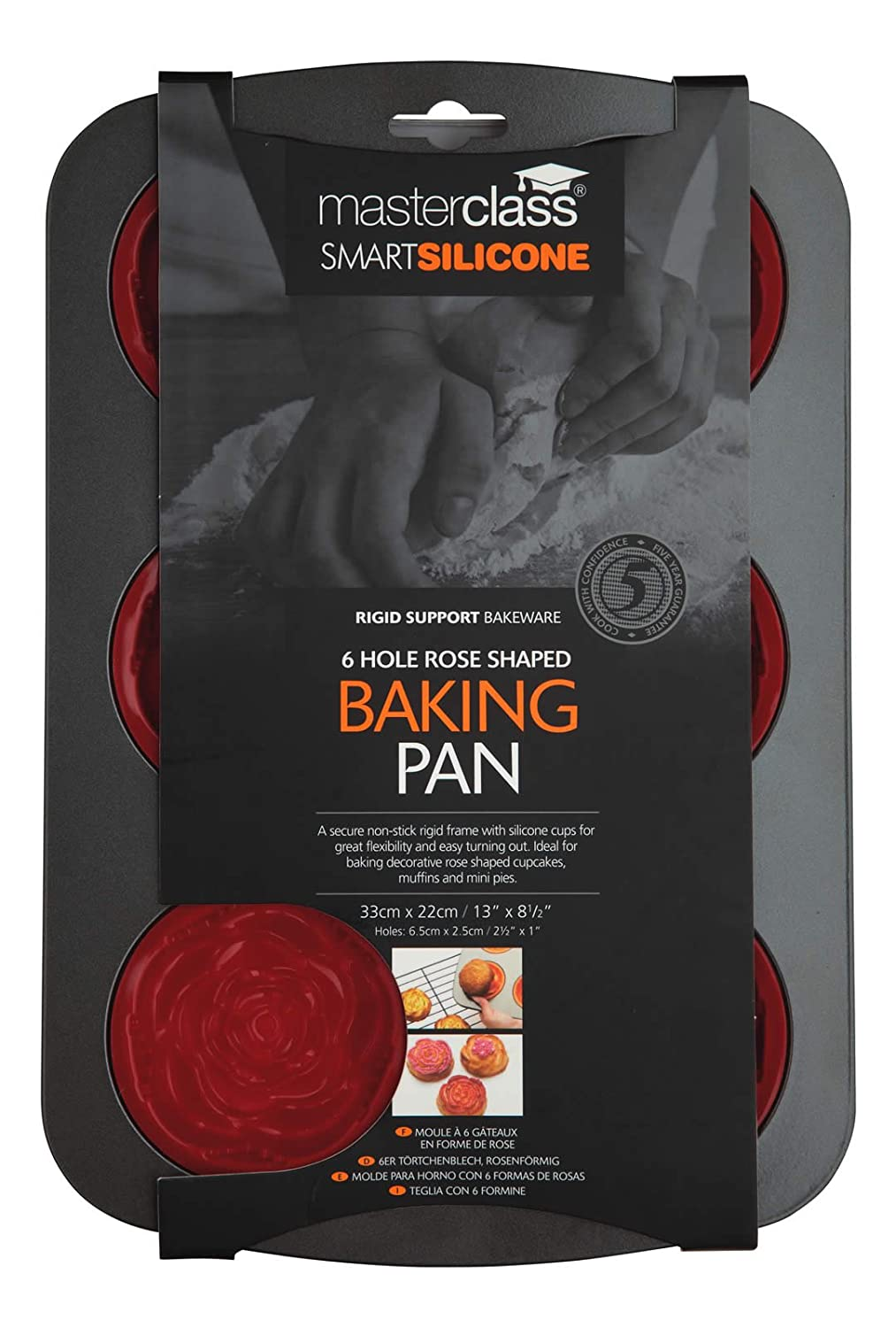 Amazon.com: Master Class Smart Silicone 32.5 x 22cm Rose Shaped Bake Pan With Non-stick Frame, 6 Hole: Kitchen & Dining