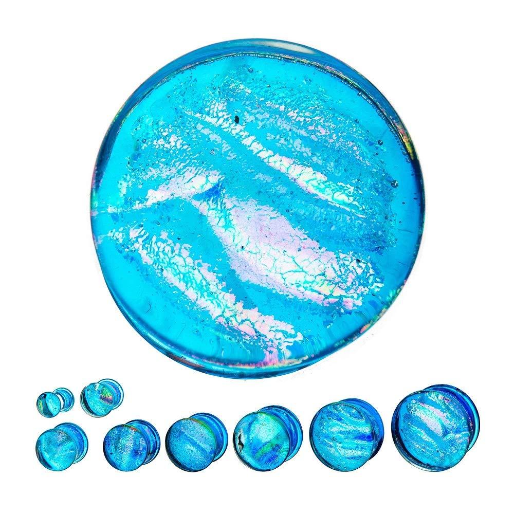 GranTodo Single Flare Light Blue Dichroic Glass Plugs