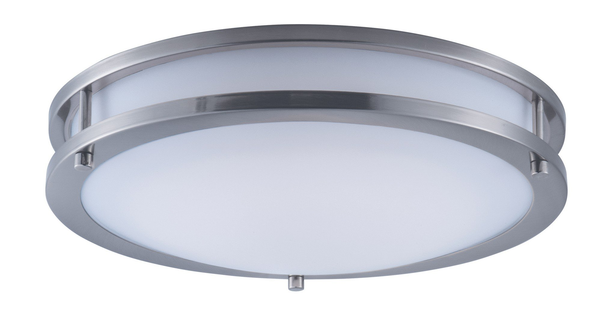 Maxim 55543WTSN Linear LED Flush Mount, Satin Nickel Finish, White Glass, LED Bulb , 40W Max., Wet Safety Rating, Standard Dimmable, Glass Shade Material, 2016 Rated Lumens