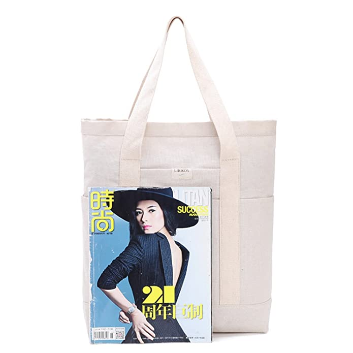 c9c5c1dc43d7 Plain Waterproof Coated Canvas Tote Shopping Bag Beige Large Size  Handbags   Amazon.com