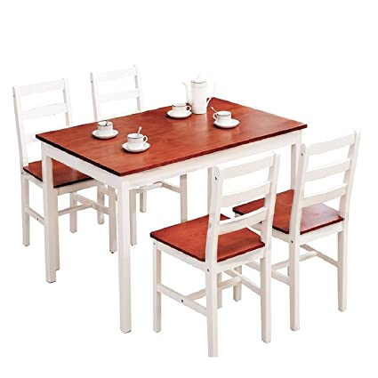 mecor 5 piece dining table set with 4 chairs wood kitchen room furniture red - Oak Kitchen Chairs