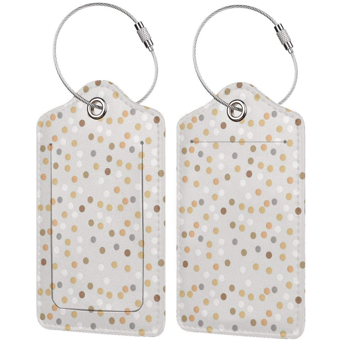 White And Yellow Polka Dot Business Trip Luggage Tags Information Labels Leather Cover Owner Contact Information Card For Suitcase//Baggage//Boarding Case//Backpack