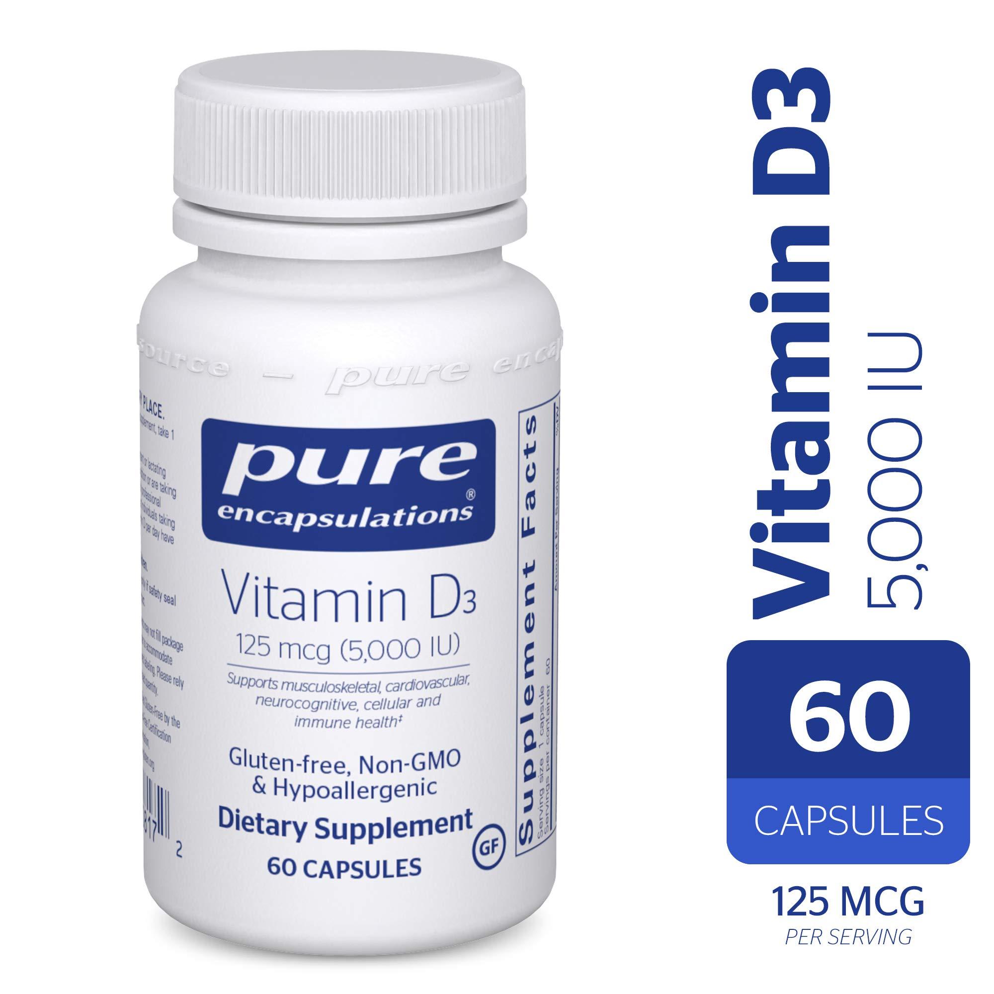 Pure Encapsulations - Vitamin D3 5,000 IU - Hypoallergenic Support for Bone, Breast, Prostate, Cardiovascular, Colon and Immune Health* - 60 Capsules
