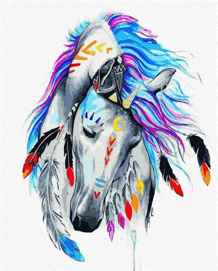Pintura por Números Cuadros de Colorear por Números Kit para Pintar en Lienzo DIY Bricolaje Adultos Niños Decoracion de Pared Regalos caballo blanco -40x50cm