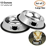 Comsmart Pet Cat Bowl Stainless Steel Dog Dish Bowls 12 Ounces Water Food Bowls with Anti-Skid Rubber Base for Kitten Puppy and Small Animals (2 Pack)