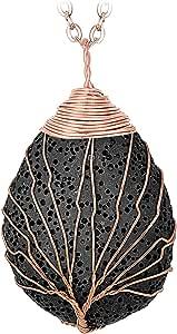Handmade Tree of Life Neacklace Teardrop Pendant Teardrop Clear Resin Jewelry