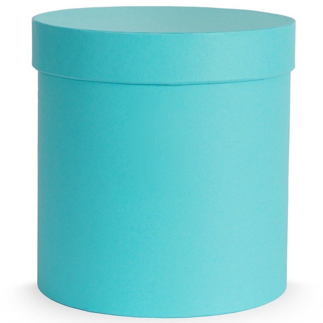 Blumenedenwelt DIY Flowerbox Set – Rotondo – Turchese – 15 x 16 cm – Oasis – Nastro in Bianco – Senza Fiori – Senza Logo – Idee Regalo