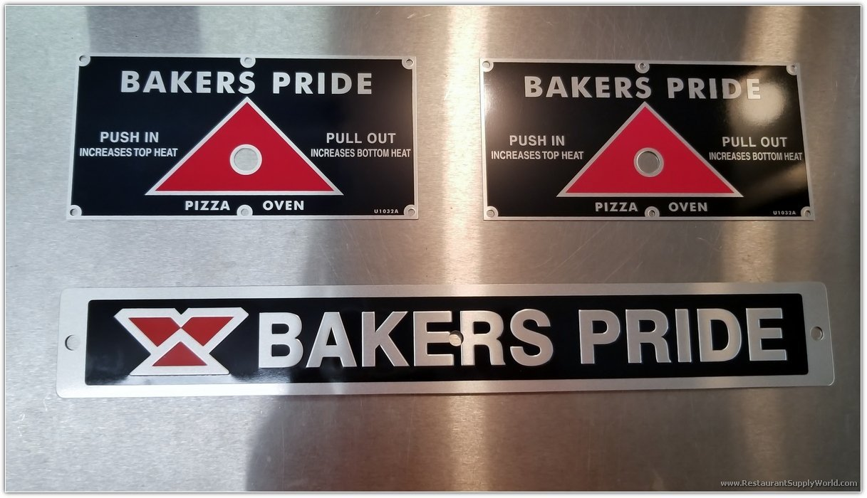 Bakers Pride Pizza Oven Stainless Steel Decals Single Set