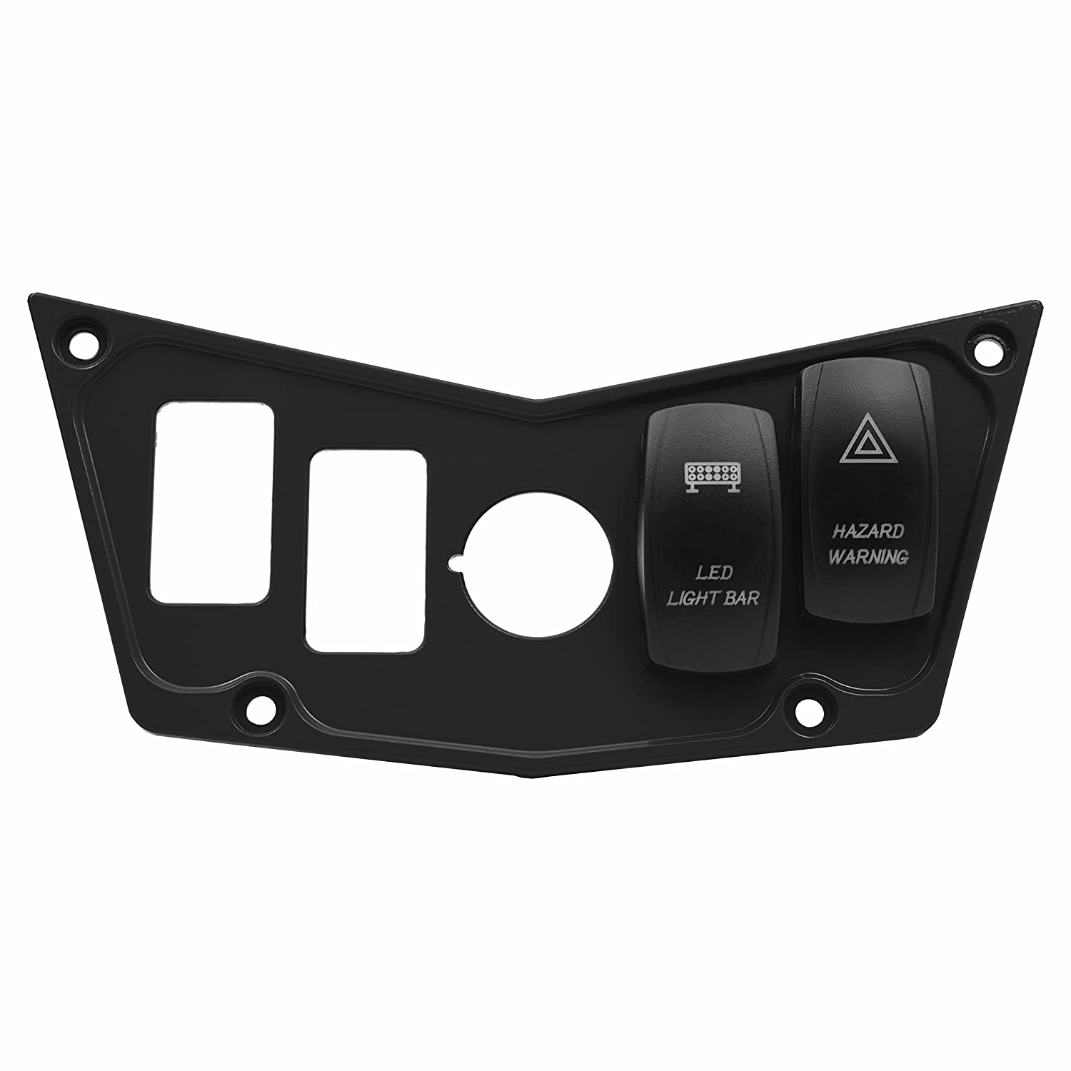 STV Motorsports Custom Aluminum Black Dash Panel for 2008-2014 Polaris RZR XP 900, 800, S, 570, Jagged X with 2 Free Laser Rocker Switches STVMotorsports®