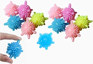 Solid Colorful Laundry Ball Dryer Balls Set of 12 Reusable Washing Balls Fabric Softener Alternative, Reduces Clothing Wrinkles and Saves Drying Time