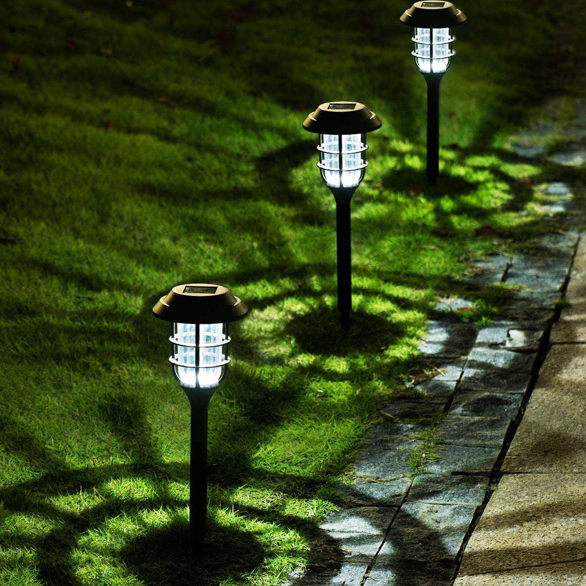 24 LED Solar Powered Pathway Lights Landscape Outdoor Patio Garden Walkway Yard