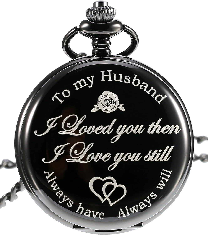 Pangda Reloj de bolsillo para hombre con grabado de reloj de bolsillo para regalo para marido en aniversario