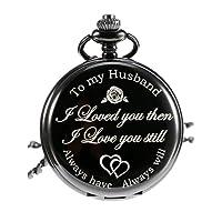 Quartz Pocket Watch to Husband Gift, Anniversary Gift Valentine's Day Gift, Engraved Pocket Watch