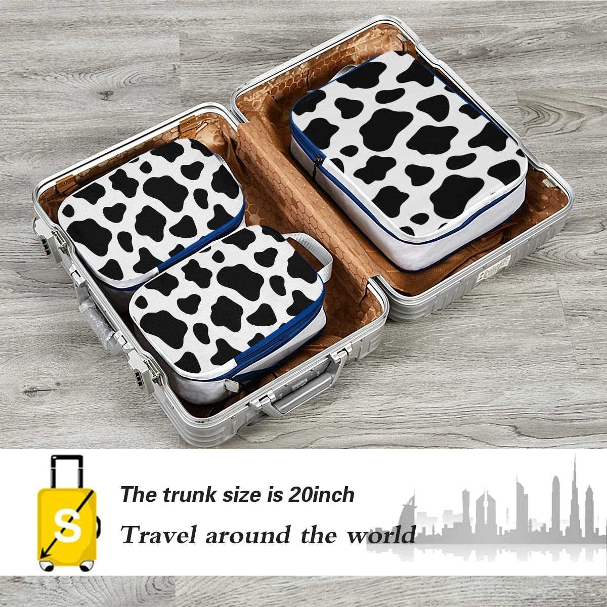 b23 Cow 3 Set Packing Cubes,2 Various Sizes Travel Luggage Packing Organizers