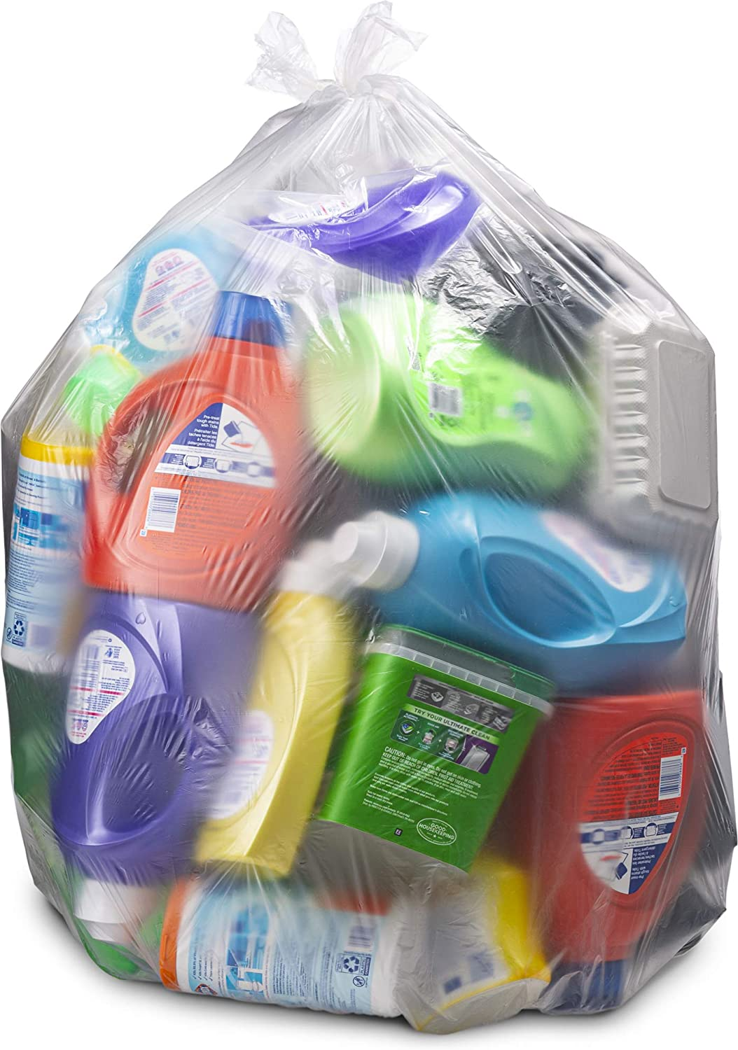 Clear Trash Bags 65 Gallon, (50 Count w/Ties) Clear Recycling Plastic Garbage Bags