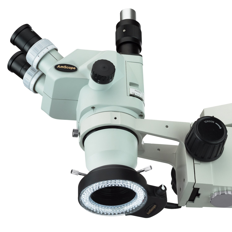 AmScope 144 LED Ajustable Microscopio Compacto Anillo de luz + Adaptador con Acabado en Negro: Amazon.es: Electrónica