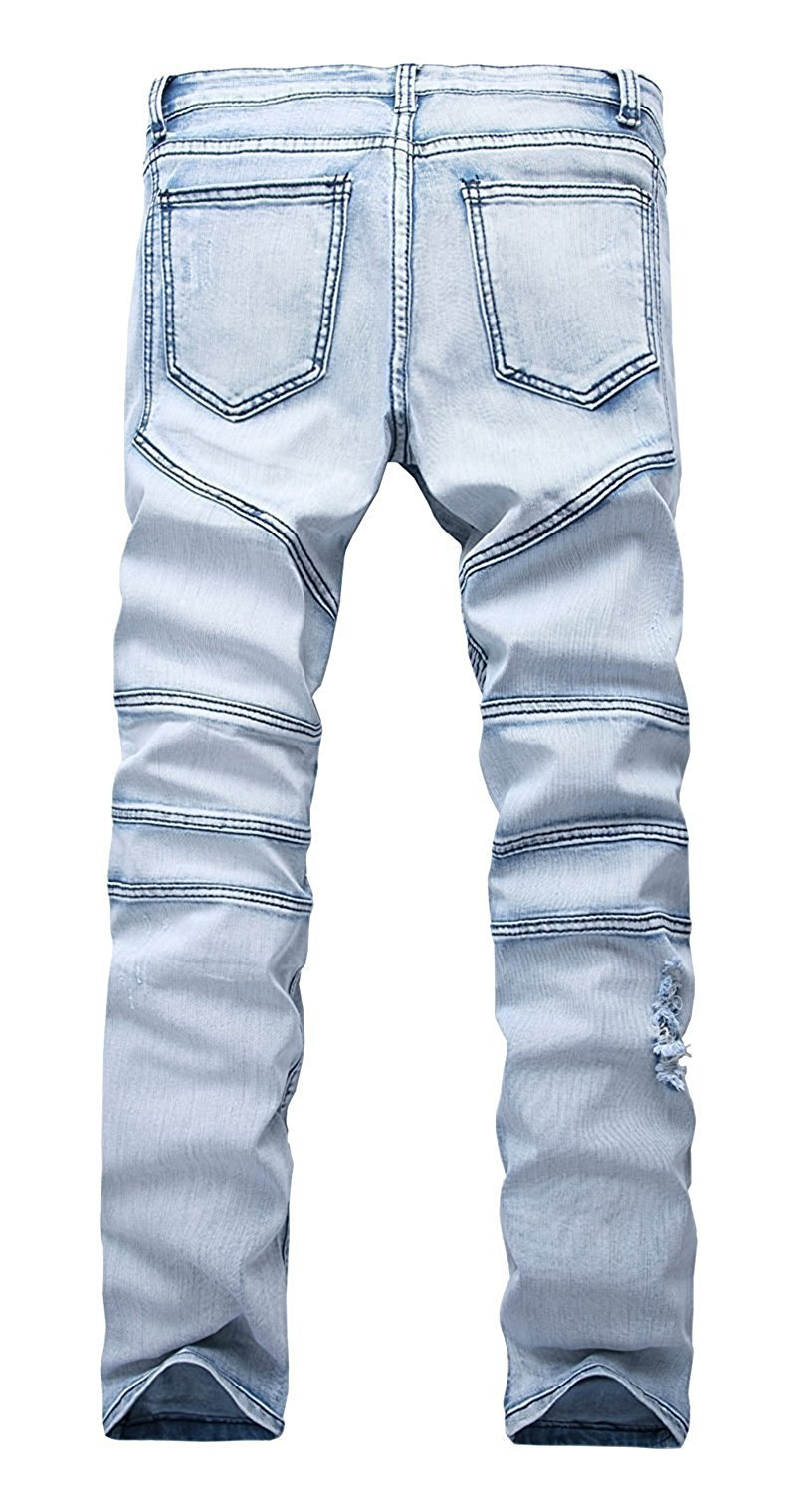 TOPING Fine Fashion;Handsome Men's Ripped Slim Straight Fit Biker Jeans With Zipper Deco 03 Light Blue40W x 32L
