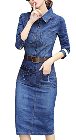 b3fdeaa64e76e Bevalsa Femmes Denim Robe Femmes Manches Longues Jeans Denim Slim Jupe  Party Mini Robe Jeans Blouse