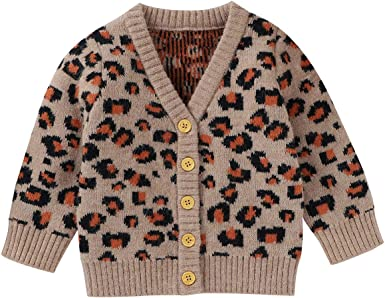 Infant Girls Boy Leopard Cardigan Long Sleeve Knitted Sweater Leopard Top Fall Winter Outfit