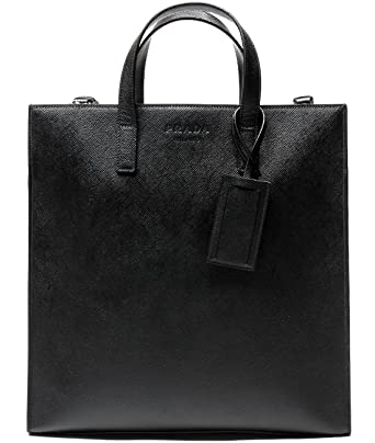 17adf53d0bb17 Prada Men s Textured Real Leather Tote Bag One Size Black at Amazon ...