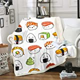 Sushi Pattern Blanket Japanese-Style Fleece Blanket for Couch Travel Sofa Teens Food Theme Sherpa Blanket Cute Cartoon…