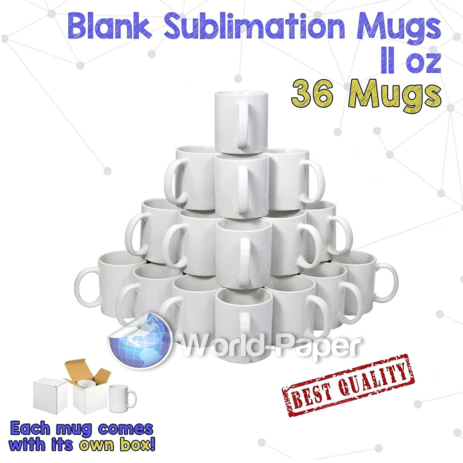 good AAA Dye Sublimation Mugs 36 Glossy Coffee White with