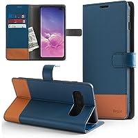 Capa Carteira para Galaxy S10 Plus, RINGKE Wallet [MAGNÉTICO][COURO][DINHEIRO e 2 CARTÕES] , Samsung Galaxy S10 Plus (G975F) (Azul e Marrom)
