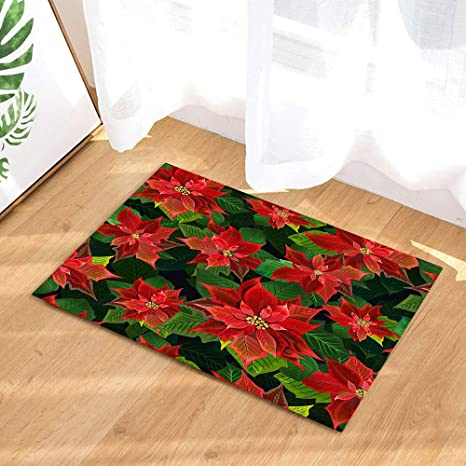 Amazon Com Nymb Red Flower And Green Leaves Bath Rugs For Bathroom Blooming Poinsettia For Classic Christmas Decoration Non Slip Bathroom Rug Dry Fast Water Absorbent Bath Mats Home Kitchen