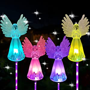 MIBUNG 4 Pack Solar Angel Lights Outdoor - Solar Powered Color Changing Angels Stake Decorative Garden Lights for Yard Lawn Pathway Grave Cemetery Christmas Decoration, Birthday Memorial Gift