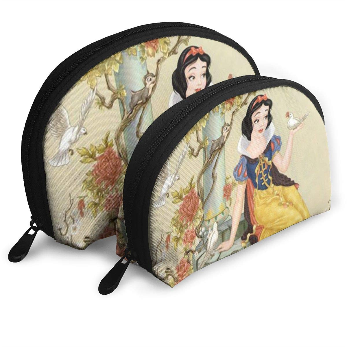 Snow White Makeup Bag Travel Bags Small Shell Bag Portable Toiletry Clutch Pouch 2Pcs