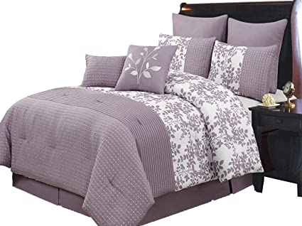 Amazon Bliss Purple And White King Size Luxury 40 Piece Inspiration King Size Decorative Pillows