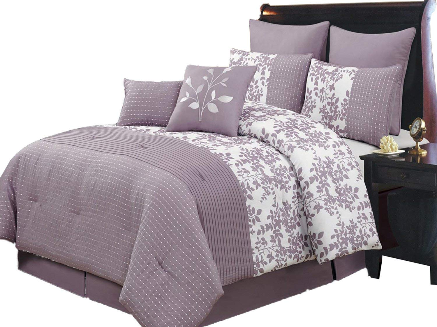 Royal Hotel Bliss Purple and White Queen Size Luxury 8 Piece Comforter Set Includes Comforter, Bed Skirt, Pillow Shams, Decorative Pillows