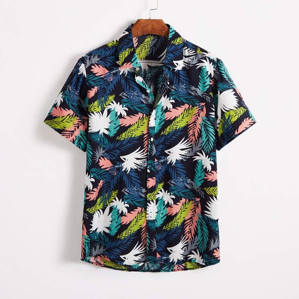 Fanteecy Mens Cotton Button Down Short Sleeve Hawaiian Shirt Summer Tropical Hawaiian Batik Shirt Aloha Beach Shirt
