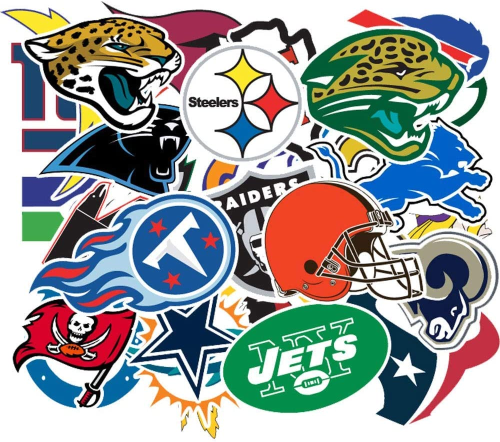 Football Sticker, NFL Vinyls Stickers[32 PCS] for Kids,Cars,Motorcycle,Bicycle,Skateboard Luggage,Bumper Waterproof (NFL Logo)
