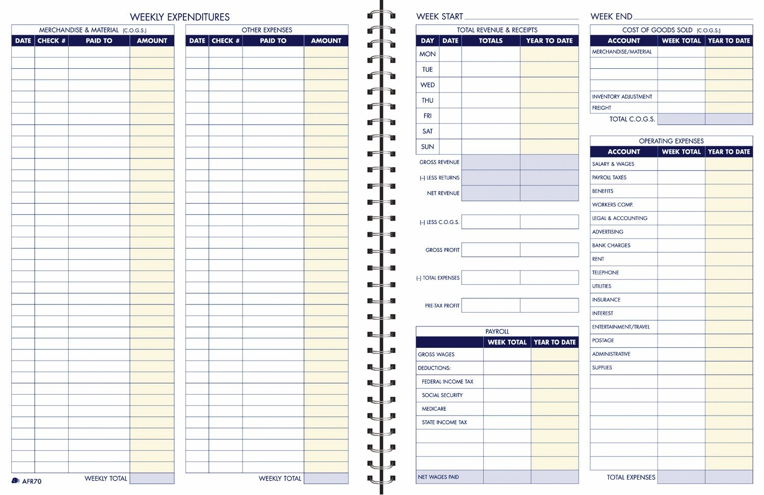Adams Bookkeeping Record Book, Weekly Format