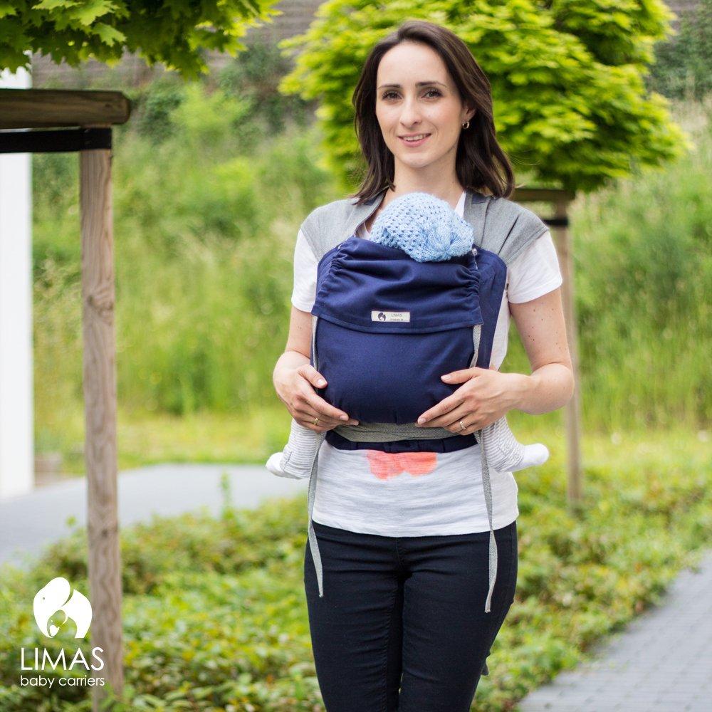 LIMAS Babytrage BIO-Baumwolle R/ücken- und H/üfttrage wendbare Bauch- Blau//Grau